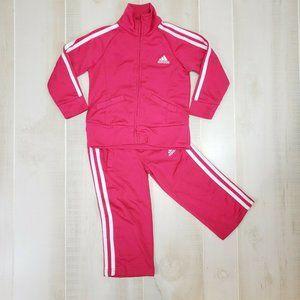 Adidas Girls Tracksuit 2T Pink Jack & Pants Set
